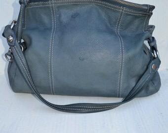 Leather Crossbody Bag Purse Blue Handbag Pocketbook Shoulder Bag Bohemian Paris Chic Distressed