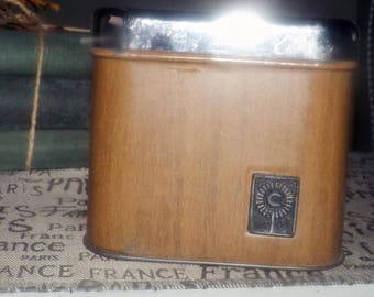 Vintage (c.1960s) GSW metal coffee canister with chrome lid.  Faux woodgrain finish in a dark brown.