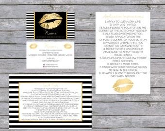 LipSense Business Card - SenegGence Business Card Bundle Gold/Black Lip