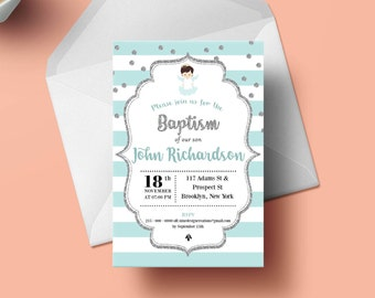 Printable Baptism Invitation, Boy Baptism Invitation, Christening Invitation, Girl Baptism Invitation