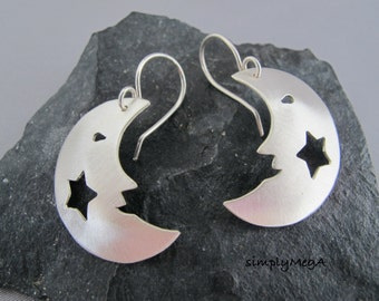 Silver Smiling Moon and Star silouette dangle earrings- ready to ship