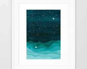 Watercolor painting, original art, nautical wall decor, sailboat, nursery art, teal illustration, original watercolor, ocean painting VApinx