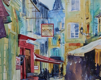 Original watercolour streetscene of France French town, Avignon, French street, townscape, city art, painting of Avignon, French watercolour