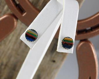 Sterling Silver Post Earrings - Rainbow Calsilica Stud Earrings - Handmade Earrings - 8mm Rainbow Calsilica in Sterling Silver