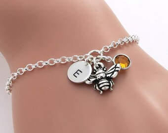 Personalised Bumble Bee Bracelet, birthstone crystal, initial, gift for her, honey bee