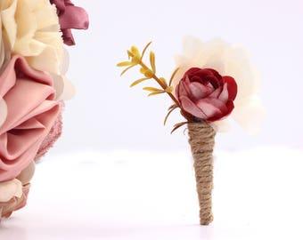 Lapel pin, plum boutonniere, man wedding brooch, prom boutonniere, man buttonhole, groom boutonniere, fabric boutonniere