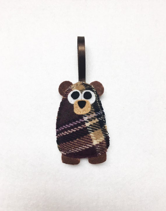Bear Ornament, Christmas Ornament, Dana the Plaid Baby Bear, Felt Ornament, Forest Animal, Woodland Decoration, Ready to Ship