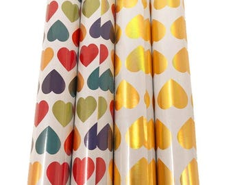 The Wrap it. Metallic Premium Gift Wrapping Paper-11.5 Sq Ft Each Roll-(4 Roll/Pack) (Rainbow&Gold Valentine's) …