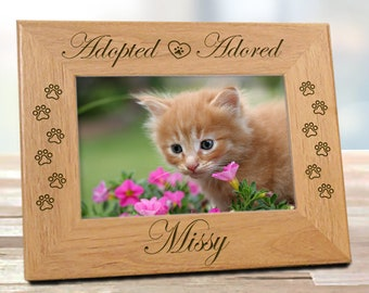 FREE SHIPPING - Adopted Adored Rescued Cat Picture Frame | Personalized Cat Lover Gifts