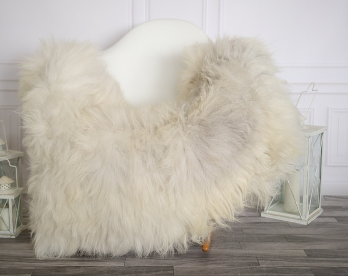 Sheepskin Rug | Real Sheepskin Rug | Shaggy Rug | Sheepskin Throw | Super Large Sheepskin Rug Beige Gray | Home Decor | #HERMAJ79