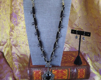 My Little Black Heart's Key Stone II necklace and earring set