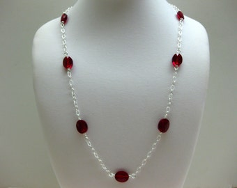 Long Red Crystal Silver Necklace - FREE SHIPPING