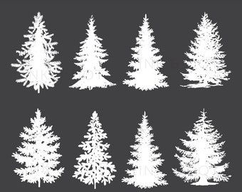 Tree Clip art, White Pine Tree Digital clipart, Festive Christmas Tree, Xmas, pine, tree, Christmas, Silhouettes - Instant Download