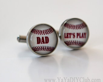 Christmas Gift for Dad from son Baseball dad Baseball Cufflinks Custom -unique gift for baseball players,baseball coach gift CUSTOM WORDS