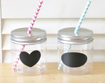 20 Plastic Mason Jars Mason Jar Lids with Straw Hole Spillproof Straw Lids, Kids size Kids Party Cups, 8oz Cups Rustic Wedding Table Setting