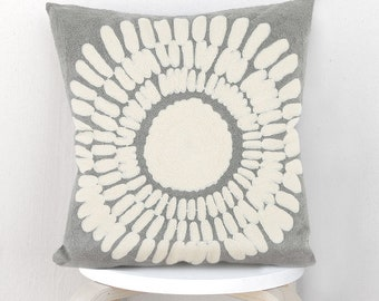 Embroidery pillow cover, Flower pillow case, Embroidery Flower cushion cover