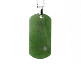 Canadian Nephrite Jade Pendant, Dog Tag