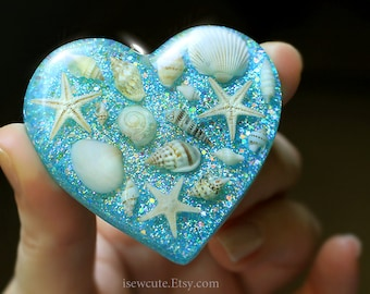 Beach Necklace, Seashell Necklace, Tiny Shell Necklace, Aqua Blue Ocean Necklace, Beach Wedding, Gift For Her, Beach Pendant, Resin Heart