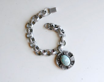 1940s aluminum chunky link charm bracelet / 40s WWII era retro vintage silver chain bracelet with robins egg blue charm / rare WWII jewelry