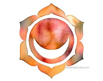 Sacral Chakra, Meditation Gifts, Namaste Gifts, Svadhishthana Chakra Wall Art, Yoga Wall Art, Chakra Wall Decor, Chakras, Solar Plexus