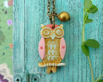 Owl Necklace for Girl, little owl, owl jewelry, girl jewelry, personalized girl birthday gift, letter necklace for girl, colorful owl