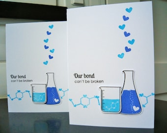 Anniversary Card for Him, Geeky I Love You Card, Nerdy Valentine, Science Gift for Boyfriend, Periodic Table, Science Beaker