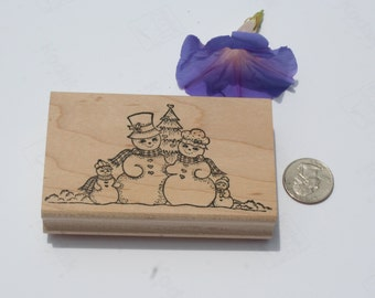 on sale Kristina's Snow Family, Wood Mounted, Kathy Weaver, Stamping Details, Snowman Stamp, Rubber Stamp, Holiday, Winter, Christmas, NEW