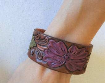 Hand Tooled Leather Floral Flower with Leaves Cuff Bracelet