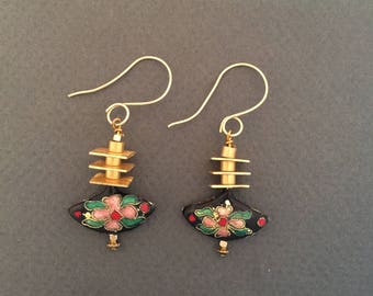 Dangle Earrings Cloisonné with Brass Drop Earrings FREE SHIPPING