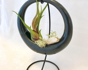 Black ceramic planter with stand or as tabletop planter, succulents, air plant display, home, office, garden gifts
