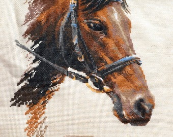 Bulat Horse - FINISHED Counted Cross Stitch