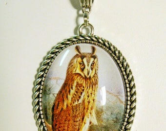 Long eared owl pendant with chain - BAP09-011