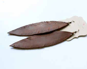 Brown leather earrings, leather feather earrings, brown leather earrings