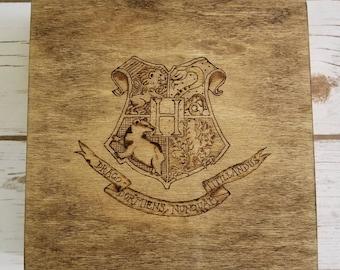 "Wizard School Crest 8""x8.25""x1"" Inch Wooburned Keepsake Box- Harry Potter - Hogwarts"