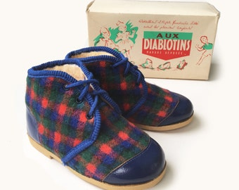Vintage 50's Tartan Blue Lined Slippers/Booties French NOS Sizes EU 20-24-26