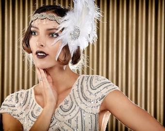 Flapper Headband/ Feather Headdress/ Old Hollywood/ 1920's Headband/ 1920's Costume / Cabaret / Moulin Rouge/  Burlesque/