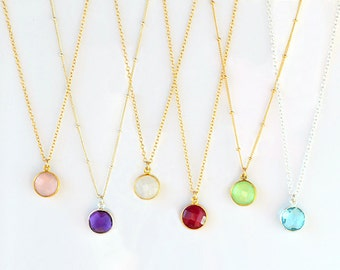 Layered necklace, Gemstone Pendant, Gold Necklace, Birthstone Bridesmaid Necklace, Gold Framed Stone, Gift For Her, Round Stone Pendant