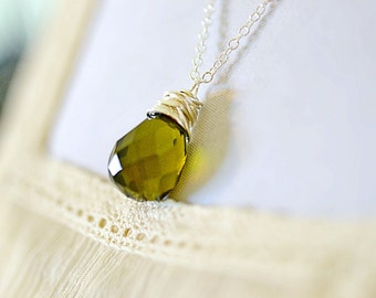 Moss Green Necklace, Simple Silver Wire Wrap Olive Green Jewelry Autumn Color Fall Fashion Jewelry, Pantone Thyme