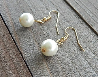 White Single Pearl Drop Earrings