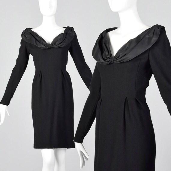 Skirt Pencil Dress Pencil Sleeve Medium Dress Collar Blass 1980s Gathered 80s Bill Simple Winter Bill Long Vintage Blass Un48R