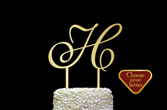 gold h wedding cake topper letter h cake topper gold initial cake topper wedding cake 14786
