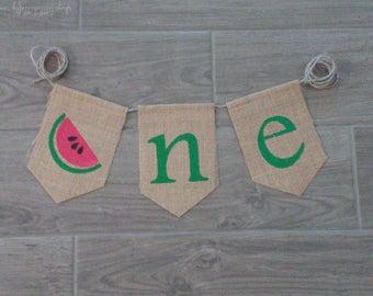 Watermelon One Banner, One Banner, High Chair Banner, Watermelon Birthday, One Birthday Banner, Summer Birthday, Watermelon Party