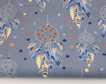 100% cotton fabric piece 160 x 50 cm, textile printing, cotton, 100% dreamcatchers light Navy background
