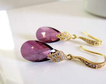 Plum Crystal Earrings in Gold, Lavender, Sparkly Plum Earrings, CZ Sparkle, Purple Bridesmaids Earrings, Drop Style, Maid of Honor