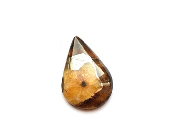 Simbircite with silver pyrite natural stone cabochon  26 x 17 x 6 mm