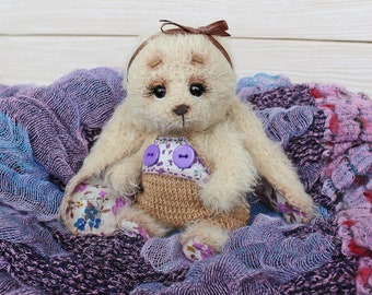 Cute Bunny Handmade toy Amigurumi Interior toy Knitting to order Beige bunny Little hare Bunny in clothes Bunny with long ears