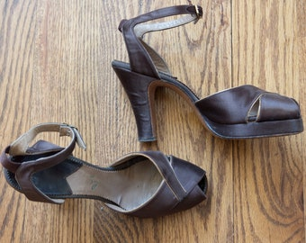 1940s brown satin Frank Sbicca peep toe platform heels   40s Cellini Shoes ankle strap tall heeled sandals   6.5 AAA