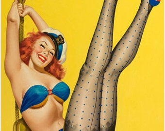 First Mate Pin-up Girl Poster Nautical Polka Dots Leggy Carefree 24x36