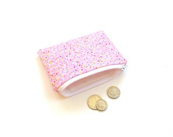 Zipper pouch, small change purse, pink, small wallet, coin pouch