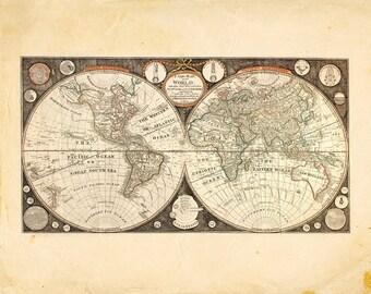 Vintage World Map Solar System Print 8x10 P137